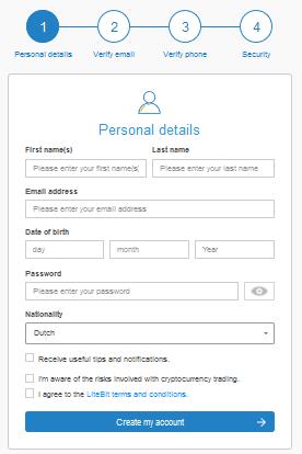 Ouvrez un compte gratuit Litebit